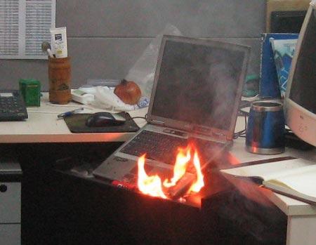 Laptop fire